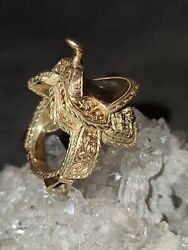 Solid 18k Yellow Gold Large Horse Saddle Ring 23 Grams Size 7.5