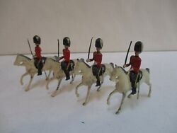Antique Britains Lead Soldier - Lot Of 4 Mounted British Guards On Horses