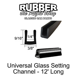 Universal Window / Glass Setting Channel / Seal 3/8 X 9/16 For 1/4 Glass 12'