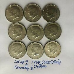 Lot Of Nine9 1968 4.5 Face Value 40 Silver Kennedy Half-dollars See Photos