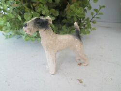 Vintage Miniature Metal Cast Iron Airedale Dog Paper Weight Figurine