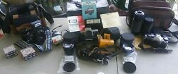 Lot Of 3 Vintage Cameras. Canon, Ricoh, And Sears With Accessories.
