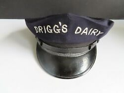 Vintage Driggs Dairy Farms Delivery Man Hat 1950and039s Blue Police Style Cap