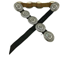 Navajo Concho Belt .925 Silver Hand Stamped Artist Signed Lm C.80and039s