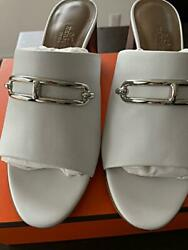 Hermes Camilla Leather High Heels Mule With Buckle Blanc Made In Italy 994/ak