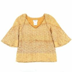 P50 V-neck Tweed Top Womenand039s Yellow Gold 38 Coco Mark No.6710