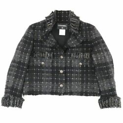 08a Tweed Jacket Womenand039s Black 40 Wool Coco Mark Lame No.6988