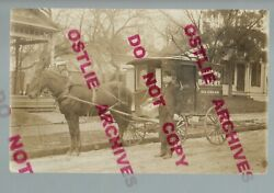 Rppc C1910 Ice Cream Delivery Wagon Williams Bakery Delivery Man Posing Basket