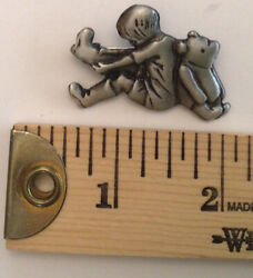 Christopher Robin And Pooh Bear Vintage Disney Pewter Pin