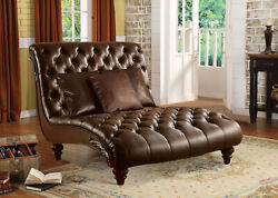 Acme Anondale Chaise With 3pillows In Brown Finish 15035