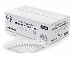 Green Label Eco Friendly Plastic Forks Medium Weight 1000/case White Disposab