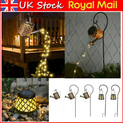 Solar Powered Led Fairy Light Hollow Watering Can Lamp Outdoor Garden Yard Decor