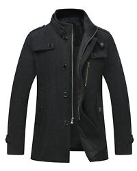 Wantdo Menand039s Vintage Wool Blend Jacket Long Trench Coat Single Breasted Pea Coat
