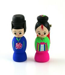 Colorful Hand Painted Wooden Korean Bride And Groom Wedding Dolls