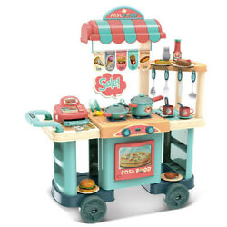 Role Play Chef Kids Shopping Grocery Kitchen Toy Cart Play Set Cooking Toy Gift