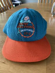 Vintage 17-0 Undefeated Season Miami Dolphins Snapback Hat, Rare, Made In Usa