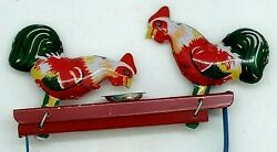 Vintage Mechanical Tin Toy Rooster Manual Pecking Eating Roosters Home Decor