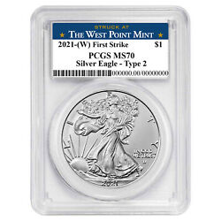 2021 W 1 Type 2 American Silver Eagle Pcgs Ms70 Fs West Point Label