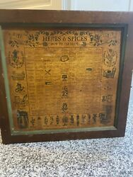 Vintage 1965 Three Mountaineers Inc. Herbs And Spices Wooden Spice Rack Cabinet