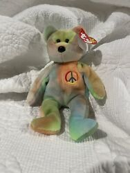 Ty Beanie Baby Rare Retired 1996 Peace Bear With Tag Errors Excellent