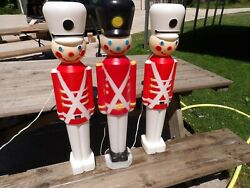 Lot Of 3 Toy Soldier 30 Blow Mold Nutcrackers Christmas Yard Decor Lights