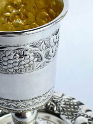 Special Silver Kiddush Cup And Plate Ezada Shabbat Traditional Judaica Antiques