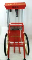 Great Northern Red All-star Popcorn Popper Machine And Cart, 8 Oz Model Gnp-800