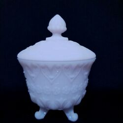 3 Footed Fenton Satin Light Purple Pink Candy Dish Jar With Lid