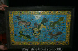32 Old Chinese Wood Inlay Colour Enamels Porcelain Dynasty 5 Lion Beast Mural