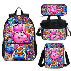 Cartoon Kirby Kids Backpacks Insulated Lunch Box Shoulder Bag Pen Case Gifts Lot $17.09