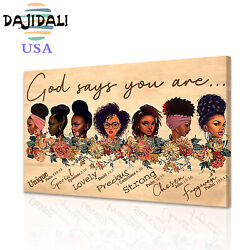 DJDL Black Poster Prints African American Canvas Painting Wall Art Decor 1PC