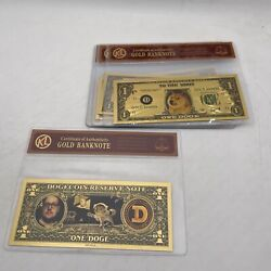 10 Sets Dogecoin Gold Banknote In Good Selling Display Plastic Bag Sleeve