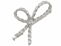 Antique French 0.97 Ct Diamond And 18carat White Gold Bow Brooch 1930s