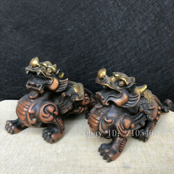 China Antique Pure Copper Outline In Gold Lucky Brave Troops Statue Decoration