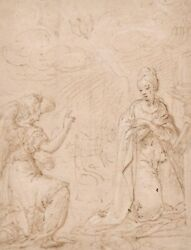 Fine Early 1700and039s Old Master Wash Drawing - Gabriel Appearing To The Virgin Mary
