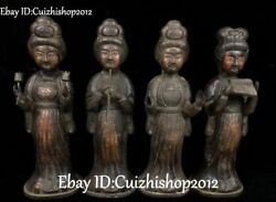 13 Old Purple Bronze Tang Dynasty Belle Beauty Girl Play Music Statue Full Set