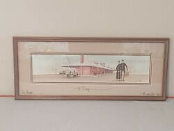 P Buckley Moss Print The Train Station W/ Coa 1990 Framed Signed 365/1000