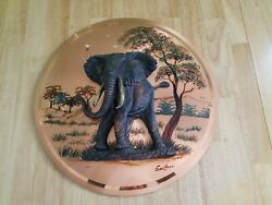 Gastone Copper Art African Elephant 3d Wall Plaque Picture Vintage Made Zimbabwe