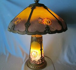 Antique Pittsburgh Reverse Painted Pansy Lamp Chipped Ice Finish