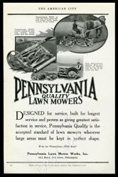 1922 Pennsylvania Lawn Mower Tractor And Horse-drawn Photo Trade Print Ad