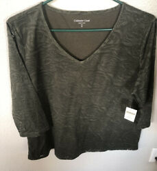 Coldwater Creek Illusion Rose Green T-shirt 3/4 Sleeve Plus Sz 1x Top Nwt Lovely