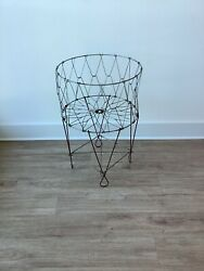 Vtg Mid Century Collapsible Folding Wire Basket Metal Laundry Cart Industrial