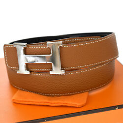 Authentic Hermes Constance Reversible H Buckle Belt Leather 85 Brown 83bs999