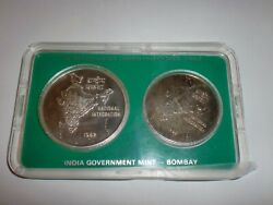 - India - 2 Coin Development Oriented Set-1982-national Integration- Rs.100and10