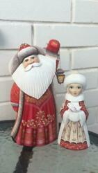 Autors Handmade Collectible Carved Figures Of Santa Claus And Snow Maiden.