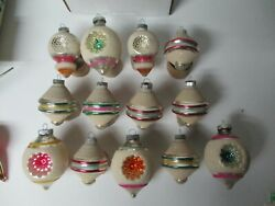 13 Vintage 1960's Usa Shiny Brite Glass Christmas Ornaments - Frosted Geometric