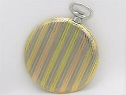 Very Fine 1930and039s Extreme Thin 18k Swiss Banded Multicolor 48mm Gold Pocket Watch