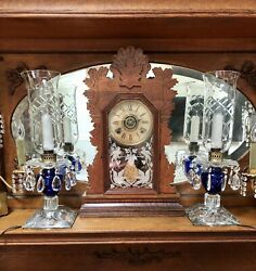 Pair Vtg 1930s-40s Cobalt Blue And Etched Crystal Hurricane Mantle Lamps W/prisms
