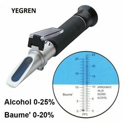 Wine 0-25 Alcohol Refractometer Baume Alcohol Concentration Tester Atc Alcohol