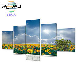 Wall Art Sunflowers Field And Blue Sky Panvas Pint Painting Picture For Decor